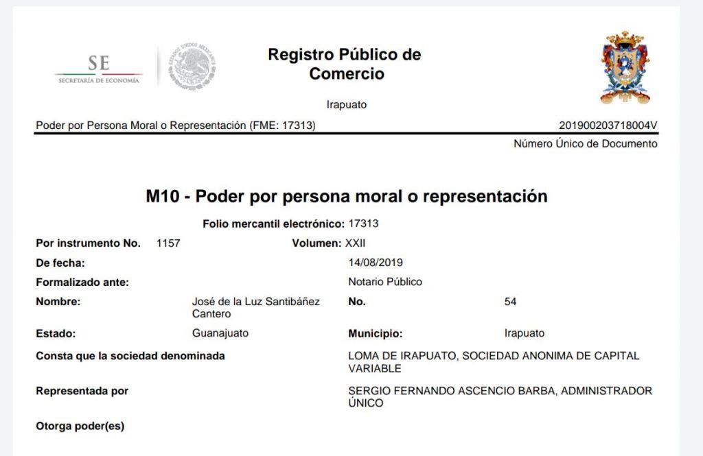 registro de la propiedad de Sergio Ascencio